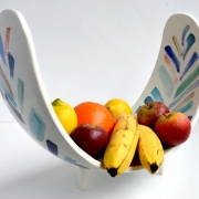 curved ceramic bowl with fruit