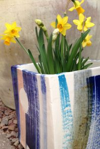 ceramic planter with daffodils