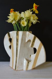 handmade ceramic flower pot with handles