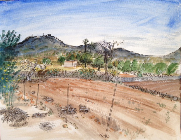 watercolour of Mallorca